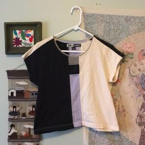 Multi-Patterned Retro Color Block Tee